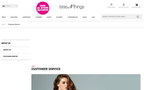Screenshot of Support Page brasnthings.com - Customer Care Online at Bras N Things Australia - captured Sept. 24, 2014