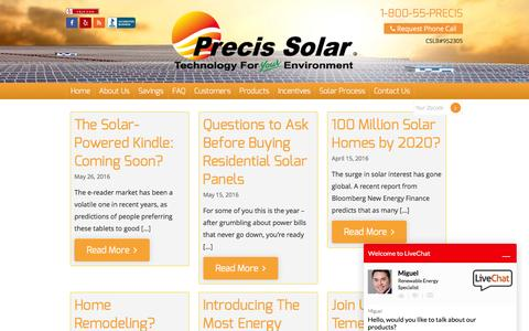 Screenshot of Blog precissolar.com - Precis Solar Blog | Solar Industry News and Company Updates - captured July 14, 2016