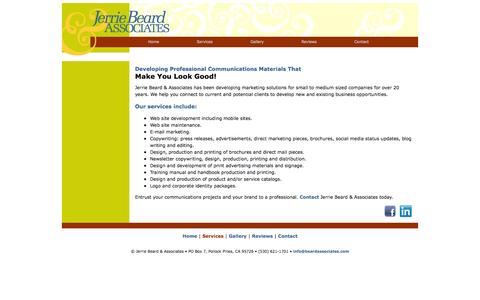 Screenshot of Services Page beardassociates.com - Contact Jerrie Beard & Associates - captured Oct. 6, 2014