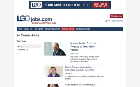 Screenshot of Jobs Page lgcjobs.com - Articles and careers information on LGCjobs - captured Feb. 12, 2018
