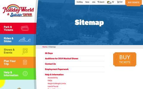 Screenshot of Site Map Page holidayworld.com - Sitemap - Holiday World - captured Sept. 23, 2014