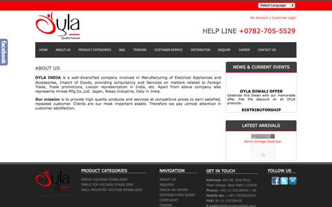 Screenshot of About Page oylaindia.com - About us - Oyla India - captured Oct. 29, 2014