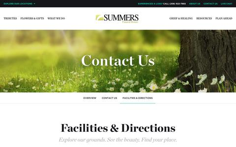 Screenshot of Locations Page summersfuneral.com - Summers Funeral Homes - Boise Chapel | Facilities & Directions | Summers Funeral Homes - Boise, ID - captured Nov. 4, 2017