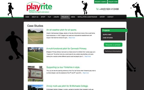 Screenshot of Case Studies Page playrite.co.uk - A range of Playrite Case Studies - captured Sept. 30, 2014