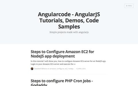 Screenshot of Home Page angularcode.com - Angularcode - AngularJS Tutorials, Demos, Code Samples - captured Oct. 30, 2017