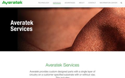 Screenshot of Services Page averatekcorp.com - Averatek I Services - captured May 15, 2016