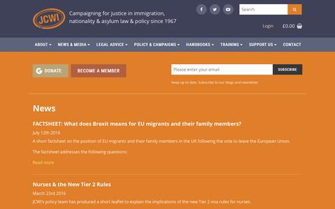 Screenshot of Press Page jcwi.org.uk - News | Joint Council for the Welfare of Immigrants - captured Nov. 27, 2016