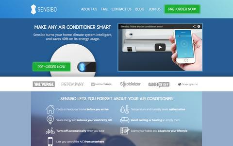 Screenshot of Home Page sensibo.com - sensibo - captured Sept. 13, 2014