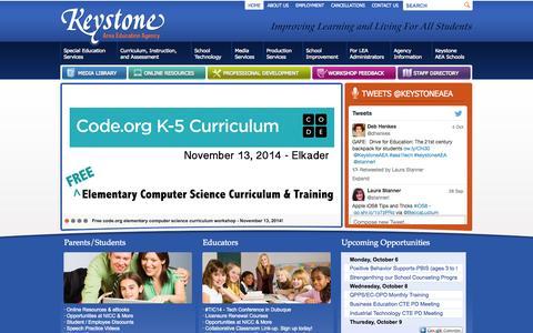 Screenshot of Home Page aea1.k12.ia.us - Keystone Area Education Agency - captured Oct. 6, 2014