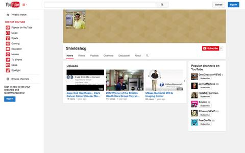 Screenshot of YouTube Page youtube.com - Shieldshcg  - YouTube - captured Oct. 26, 2014