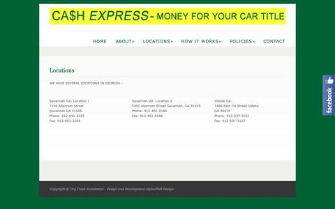 Screenshot of Locations Page cashexpressga.com - Locations  @  Cash Express - captured Sept. 27, 2018