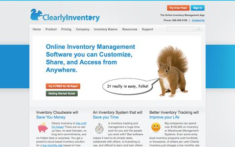 Screenshot of Home Page clearlyinventory.com - Clearly Inventory - Online Inventory Management Software - Home - captured Sept. 19, 2014