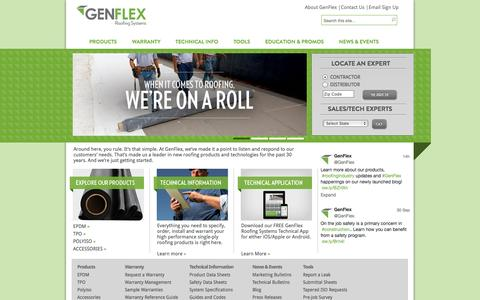 Screenshot of Home Page genflex.com - GenFlex Roofing Systems | Above All - captured Oct. 2, 2014