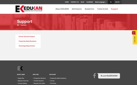 Screenshot of Support Page edukan.org - Support - EDUKAN | Online College | Distance Education | Online Classes | AA Degrees - captured May 25, 2017