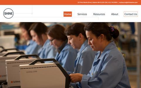 Screenshot of Home Page shinewire.com - Custom Cable Assembly Manufacturer | SHINE - captured Dec. 10, 2016