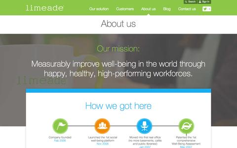 Screenshot of About Page limeade.com - About Us - Limeade - captured Oct. 1, 2015