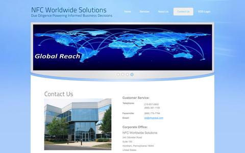 Screenshot of Contact Page nfcglobal.com - International Due Diligence - captured Nov. 4, 2017