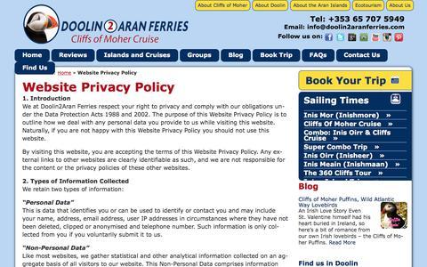Screenshot of Privacy Page doolin2aranferries.com - Doolin2Aran Ferries Website Privacy Policy  | Doolin2Aran Ferries - captured June 5, 2017