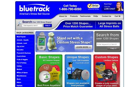 Screenshot of Products Page bluetrack.com - Customized Stress Balls - BLUETRACK™ - 1200+ Shapes Available - captured Feb. 7, 2016