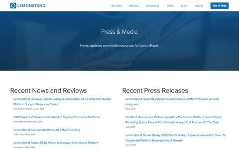 Screenshot of Press Page lemonstand.com - LemonStand Press And Media | LemonStand - captured Oct. 2, 2016