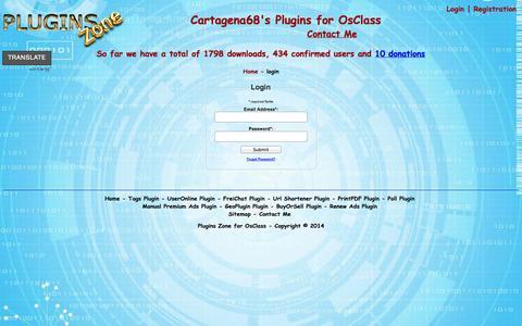Screenshot of Login Page plugins-zone.com - login page - Plugins Zone for OsClass - captured Nov. 2, 2014
