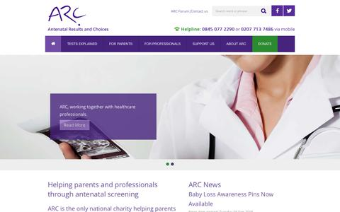 Screenshot of Home Page arc-uk.org - Home | ARC supports parents throughout antenatal testing and its consequences - captured Oct. 2, 2018