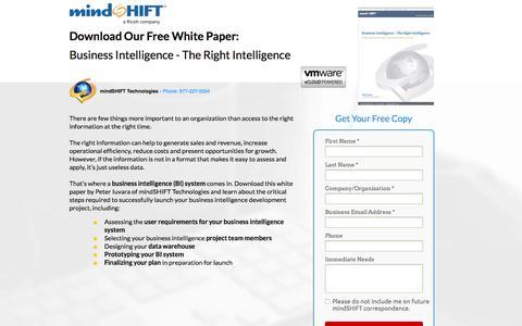 Screenshot of Landing Page mindshift.com - Whitepaper - Business Intelligence - The Right Intelligence - captured Feb. 11, 2016