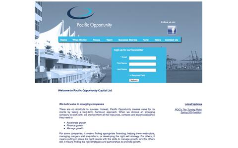 Screenshot of Home Page pacificopportunity.com - Pacific Opportunity Capital Ltd. - captured Oct. 1, 2014