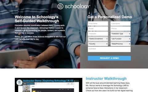 Screenshot of Landing Page schoology.com - See Schoology's K-12 LMS in Action! | Schoology - captured Jan. 23, 2018
