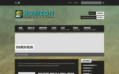 Screenshot of Blog horizonjaco.org - Church Blog - Horizon Church Jaco - captured Oct. 3, 2014