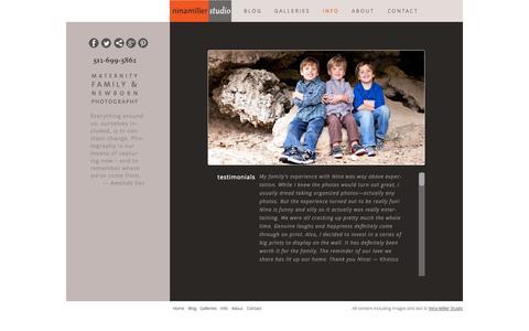 Screenshot of Testimonials Page ninamillerstudio.com - Testimonials | NinaMillerStudio - captured Oct. 9, 2014