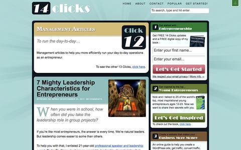 Screenshot of Team Page 14clicks.com - Entrepreneurship Management Articles – Day-to-Day Operations · 14 Clicks - captured Sept. 25, 2014