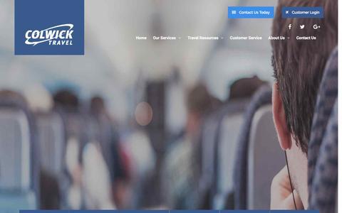 Screenshot of Home Page colwick.com - Corporate Travel Management - Colwick Travel - captured Nov. 9, 2016