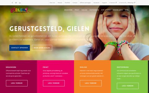 Screenshot of Home Page gielen.nl - Gielen Druk Print Webmedia - captured Jan. 28, 2016