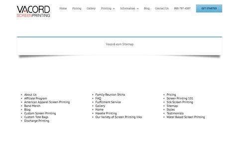 Screenshot of Site Map Page vacord.com - Sitemap - Vacord Screen Printing - captured Nov. 28, 2016