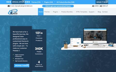 Screenshot of Home Page weblizar.com - WordPress Free & Premium Themes, Responsive WP Plugins - Weblizar - captured July 21, 2018