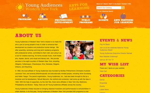Screenshot of About Page yawny.org - About Us | Young Audiences WNY - captured Dec. 20, 2018