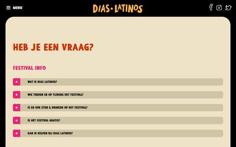 Screenshot of FAQ Page diaslatinos.nl - Dias Latinos Festival :: Veelgestelde vragen - captured Aug. 7, 2018