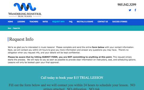 Screenshot of Signup Page wanderingminstrel.ca - Request Info | Register | Mississauga Private Music Lessons - captured Oct. 19, 2017
