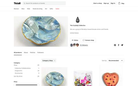 Screenshot of Products Page tictail.com - Shop • The Crybaby Collective • Tictail - captured Nov. 25, 2017
