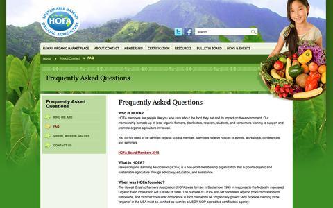 Screenshot of FAQ Page hawaiiorganic.org - Frequently Asked Questions – Hawaii Organic Farming Association - captured Dec. 30, 2016