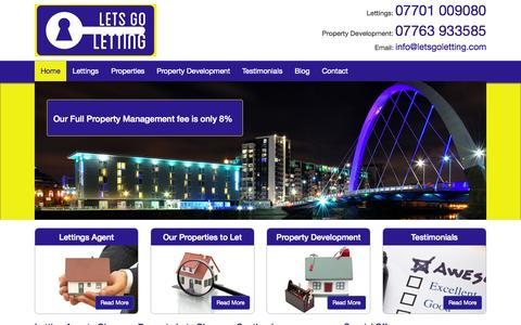 Screenshot of Home Page letsgoletting.com - Letting Agents Glasgow   Property Lets Glasgow   Lets Go Letting - captured July 21, 2015