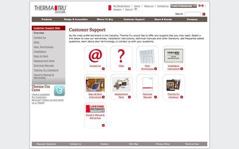 Screenshot of Support Page thermatru.com - Customer Support - captured Nov. 2, 2014