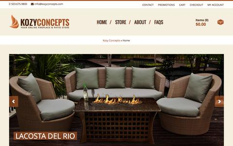 Screenshot of Home Page kozyconcepts.com - Home - Kozy ConceptsKozy Concepts | Your Online Fireplace and Patio Store - captured Sept. 30, 2014