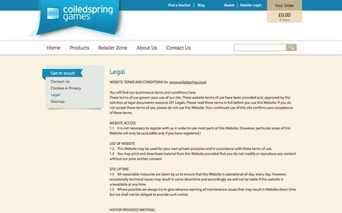 Screenshot of Terms Page coiledspring.co.uk - Legal | Coiledspring Games - captured Oct. 3, 2014