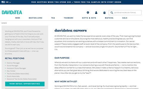 Screenshot of Jobs Page davidstea.com - DAVIDsTEA - careers - US - captured April 15, 2018