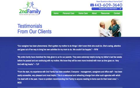 Screenshot of Testimonials Page 2ndfamily.com - Maryland Senior Care Testimonials | 2nd Family - captured Oct. 27, 2014