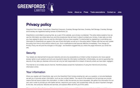 Screenshot of Privacy Page greenfords.co.uk - Privacy policy - captured Sept. 22, 2017