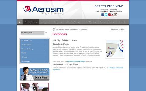 Screenshot of Locations Page aerosim.com - U.S. Flight Academy Locations | US Pilot Training | Florida Flight School - captured Sept. 19, 2014