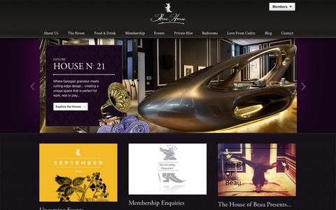 Screenshot of Home Page homehouse.co.uk - Home House - captured Sept. 23, 2014